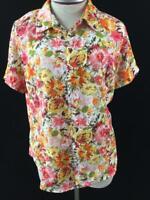 Laura Scott petite top size PL large blouse pink orange floral short sleeve