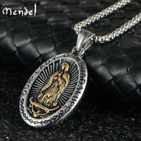 MENDEL Stainless Steel Catholic Our Lady Of Guadalupe Gold Pendant Necklace Men