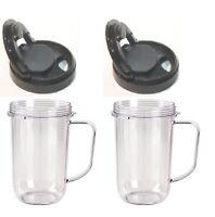 Blenpar 2pk Flip Top to Go Lid with 16oz Mug Cup Jar,Compatible Magic Bullet