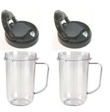 2pk Flip Top to Go Lid with 16oz Mug Cup Jar,Fits Original Magic Bullet Blenders