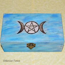 Triple Moon Pentacle Wooden Box - Altar, Tarot, Pagan, Wicca, Pyrograph 18x10cm