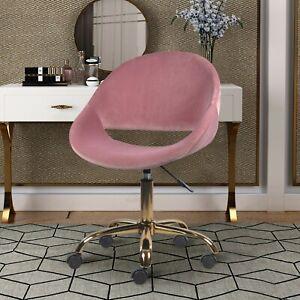 Pink Velvet Makeup Side Desk Chair Height Adjustable Armless Swivel Vanity Chair
