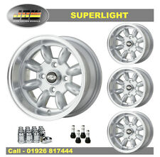 7x 13 Superlight Wheels CLASSIC FIAT 4 X 98 Ensemble De 4 Argent