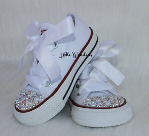 Swarovski Rhinestone And Pearl Baby Girl Toddler White Converse Shoes