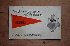 "1913 Columbus Nebraska ""Girls Carry Water"" Pennant Souvenir Postcard Antique NE"