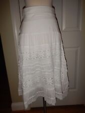 NEW Simply Noelle S M 8 10 White Lace Lined Fold-Over Waist Peasant Skirt NWT