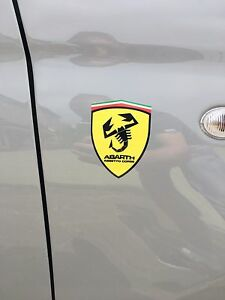 2x Abarth Assetto Corse Wing Badge Emblem Decals 500 595 595c 500c Punto Shield