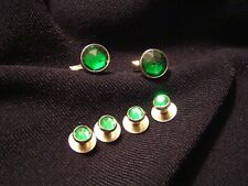 New Round Green Gold Tuxedo Shirt 2 Tux Cuff Links 4 Studs Mardi Gras TUXXMAN