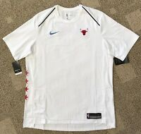 Nike Dry Men's Short Sleeve Shirt White Size XL NBA Chicago Bulls AH5951-100