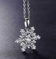 2 Ct Round Brilliant Cut Solid 14k White Gold Snowflake Pendant Necklace