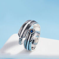 Solid 925 Sterling Silver Adjustable Sapphire Blue CZ Leaf Feather Angel Ring