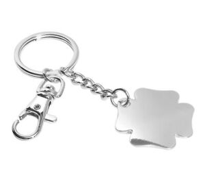 Key Ring Clover with Engraving Talisman Pendant Metal Silver Plated