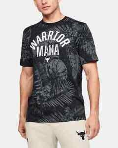 NEW UA PROJECT ROCK WARRIOR MANA ALOHA CAMO T SHIRT MENS XXL  BLACK 1351585-001