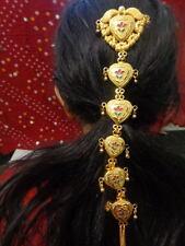 Bollywood gold hair choti falls south Indian head dress wedding jewelry ATS