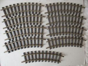 Lot de 9 rails courbés Lehmann n°1100 R=600 mm LGB 1988 train western Playmobil