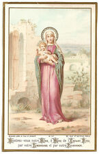 Antique Vintage French Holy Prayer Card Blessed Mother Virgin Mary & Baby Jesus
