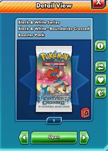 Pokemon Ptcgo online black and white boundaries crossed booster pack- DIGITAL
