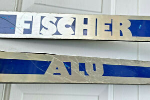 Vintage Fischer ALU skis 185cm Marker Rotamat I bindings leather straps display