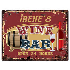 PWWB0076 IRENE'S WINE BAR OPEN 24Hr Rustic Tin Chic Sign Home Decor Gift