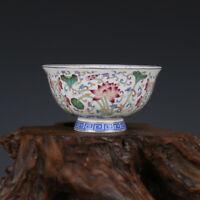 Chinese Qing Qianlong old antique Porcelain famille rose Lotus flower bowl