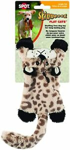 "(ONE TOY) SPOT ETHICAL SKINNEEZ SKINNEEEZ FLAT CATS 12"" LEOPARD DOG TOY SQUEAKER"