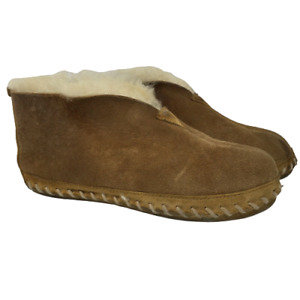 L.L. Bean Mens Wicked Good Moccasin Slippers Mocs Beige Tan Size 7 M *DAMAGE*