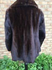 Real Genuine Mink Fur Coat Jacket Dark Brown Nearly Black Colour Size M 10-12