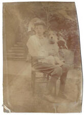 Young Lad with Pet Dog seated on his Knee - Antique Photograph c1905