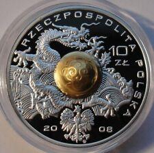 10 ZL POLAND 2008 Polish Team Beijing DRAGON Silver with duraluminium Sphere