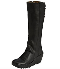 Fly London YUST BLACK Leather Womens Knee Hi Boots  US 8-8.5  EU 39 NEW