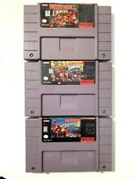 Donkey Kong Country 1 2 3 SUPER NINTENDO SNES Game Lot All Authentic & Tested!