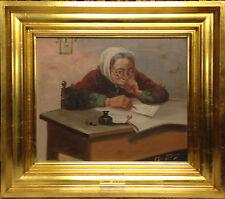 Oluf Simony Jensen (1864-1923): GRANDMA WRITING a LETTER