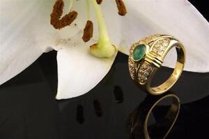 Schmuck 750 Gold Smaragd Ring mit Diamanten Brillanten 18 Karat