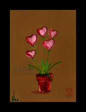 Love Blooms ORIGINAL ART OIL PAINTING Pink Hearts Potted Plant Valentine Card