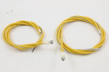 OLD SCHOOL BMX OR MODERN BMX YELLOW FRONT & REAR BRAKE CABLE SET BARREL END