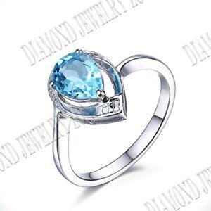 Solid 14k White Gold Pear 8x6mm Swiss Blue Topaz Diamonds Gemstone Ring Jewelry