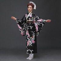 Japanese Kimono Vintage Yukata Haori Costume Retro Geisha Dress Obi Cosplay New