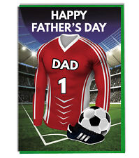 Fathers Day Football Card For A Dad - Red and White Team Shirt /Colours