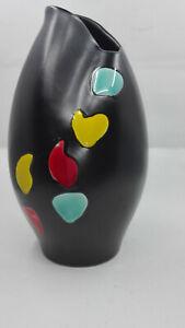 Wächtersbach Vase organische Form schwarz mit bunten Punkten 4100 neue Fotos !