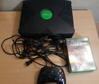 Original Xbox Black Console Bundle w/4 Games, Controller, Cords | Tested & Works