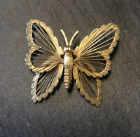 Vintage 60s 70s Signed Monet Gold Wire Spinneret Filigree Butterfly Pin Brooch