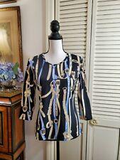 J McLaughlin Women's Black Equestrian Print Top Catalina Cloth Sz S