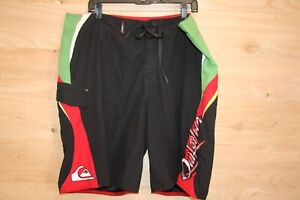 Black/Red/Green Quiksilver Board Shorts Black Mens Size 42 Swim Trunks Pre-Owned