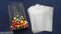 """100 x CLEAR CELLO DISPLAY BAGS FOR LOLLIPOPS CAKE POPS SWEETS 5 x 7"""" & Gold Ties"""