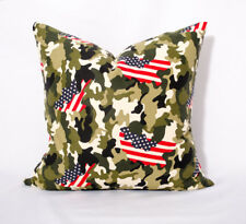 Decorative pillow cover Military camo pillow Camouflage pillow American Flag