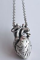 Human Anatomical Heart Pendant Necklace Silver Biology Goth Emo & Gift Bag