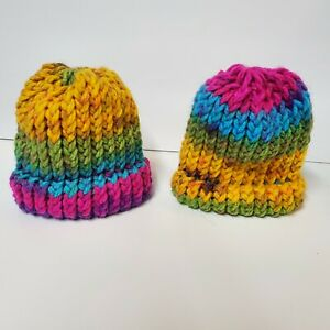 2 Handmade Knit Baby Hat Beanie Multicolor Rainbow 🌈 #1 homemade NEW hats