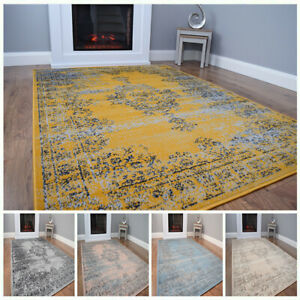 New Modern Traditional Faded Grey Gold Rug Large Small Living Room Mat Cheap UK