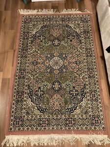 Medium Size Green And Pink Persain Rug 61 X 39 Inches, Thick Pile