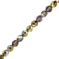 "Czech Fire Polish Beads Crystal Golden Rainbow 8mm 6"" Strand Pack of 20 (G108/2)"